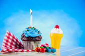 Sweet delights on the saturated background — Stock Photo