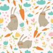 Seamless pattern with rabbits and carrots — Stock Vector