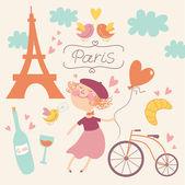 パリのベクトルのセットと恋に — ストックベクタ