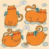 Roztomilý létající kočky vektorové sada — Stock vektor