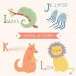 Animal alphabet. Cute vector zoo animals. Part 3 — Stock Vector