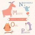 Animal alphabet. Cute vector zoo animals. Part 4 — Stock Vector