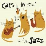 Cats in jazz vector illustration — Stock Vector