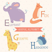 Animal alphabet. Cute vector zoo animals. Part 2 — Stock Vector