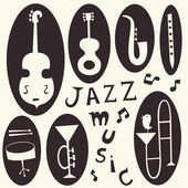 Jazz instruments vector set — Stock Vector