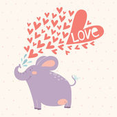 Valentine's day card design with cute elephant — Stock Vector