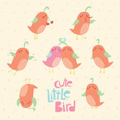 Simpatico uccellino set vettoriale — Vettoriale Stock