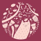 Vector illustration of cat in love — Vecteur