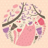 Vector illustration of cat in love — Vettoriale Stock
