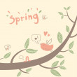 Spring vector background with tree branch — Stock Vector #39920215