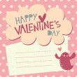 Valentine's day card design with cute bird — 图库矢量图片