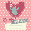 Valentine's day card design with cute bird — Stock Vector #39920597