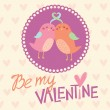 Stock Vector: Valentine's day card design with cute birds