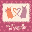 Valentine's day card design with cute cats — Cтоковый вектор