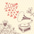 Vintage vector background with gramophone. Valentine's day card — Vecteur