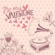 Vintage vector background with gramophone. Valentine's day card — Stock Vector #39920865
