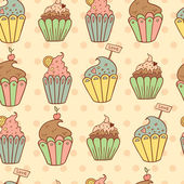 Cupcakes dolce vettoriali seamless pattern — Vettoriale Stock