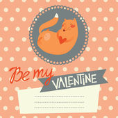 Valentine's day card design with cute fox — Stock Vector