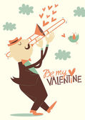 Valentine's day card with trombonist — Stock Vector