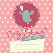 Baby Shower invitation with cute bird — Stock Vector