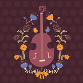 Floral design element with double bass — Stock Vector