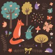 Cute forest vector set — Stock Vector