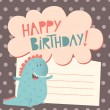 Happy birthday greeting card with cute dinosaur — Stock Vector