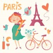 Love Paris vector set — Stock Vector