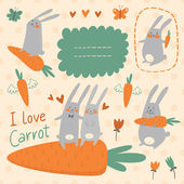 Bunnies and carrots vector set — Wektor stockowy