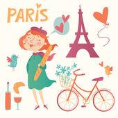 Love Paris vector set — Vettoriale Stock