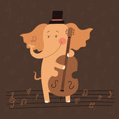 Illustration of elephant playing the double bass — Stock Vector