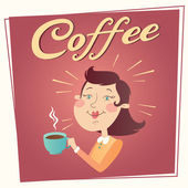 Woman with coffee vector poster — Stock Vector