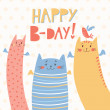 Happy Birthday vector card with 3 funny cats — Stock Vector