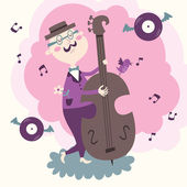 Vector illustration of double bass player in purple — Stock Vector