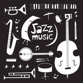 Musical instruments vintage vector set in black and white — Stock Vector