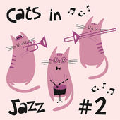 Cats in jazz vector set 2 in purple — Stock Vector