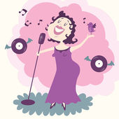 Vector illustration of jazz singer in purple — Stock Vector