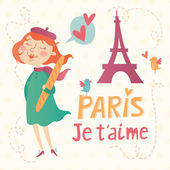 Paris je t'aime vector card — Stock Vector