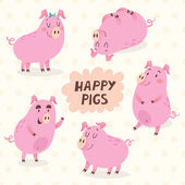 Happy pigs vector set — Stock Vector