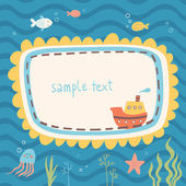 Sea life vector frame  — Stock Vector