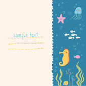 Sea life vector background — Stock Vector