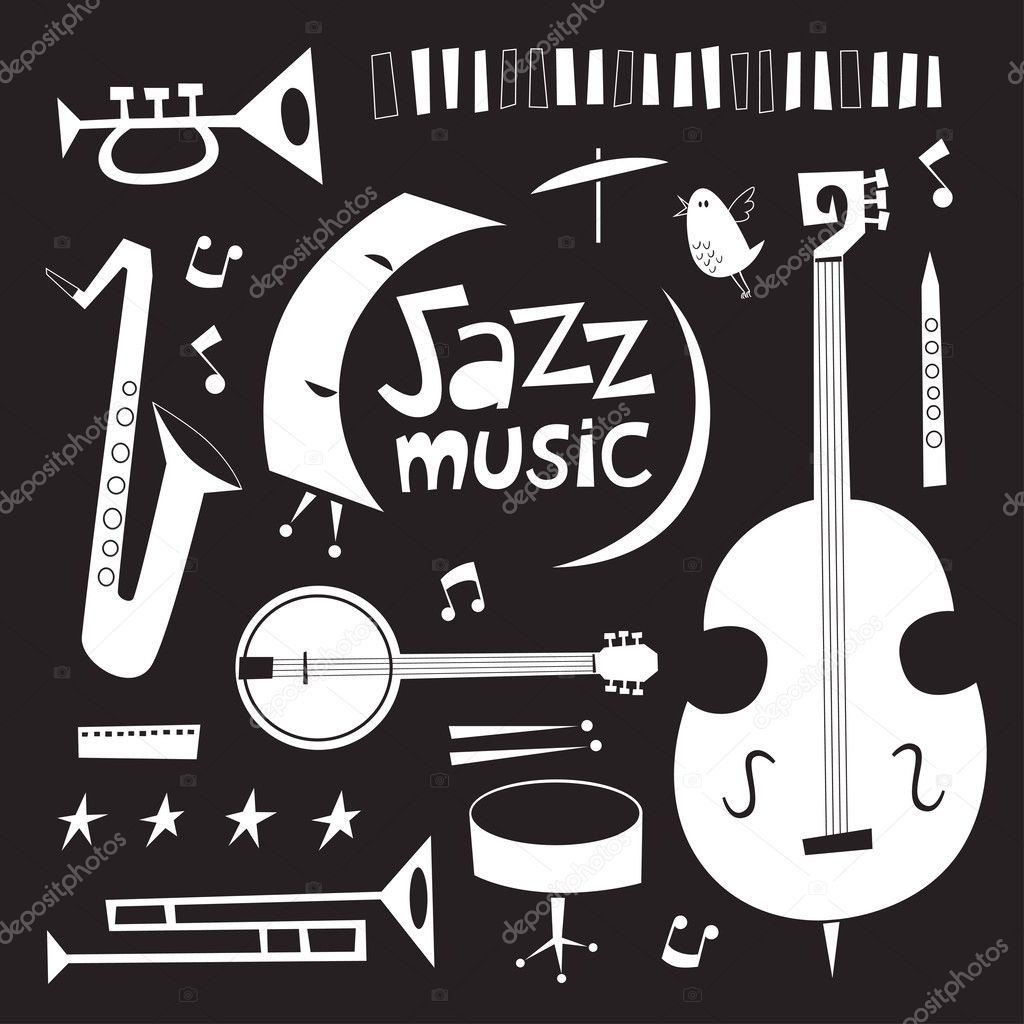 Jazz Instruments Black And White
