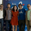 (LR) Executive producer Alvaro Alonso, actor Julian Villagran, actress Nadia Santiado, the director and scriptwriter of the film Paco R. Bañosand the director of Canal Sur Ricardo Llorca. — Stock Photo