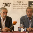 Постер, плакат: LR theater director producer and actor Arturo Fernandez and theater director Victor Rodriguez Lope de Vega Yague