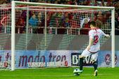 SEVILLA, ESPANA, 2 DE MARZO DE 2014:  Gol de Gameiro de un pase  — Stockfoto