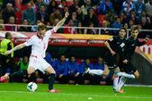 Rakitic en el encuentro entre el Sevilla FC y Real Sociedad corr — Zdjęcie stockowe