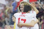 Sevilla's Rakitic and Jairo — Stok fotoğraf