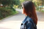 Portrait women outdoor road side — Foto Stock
