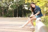Portrait women outdoor road side — Stock Photo