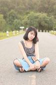 Portrait women outdoor road side — Photo